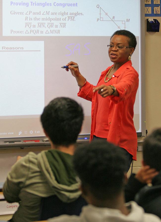 Former NASA engineer Wanda Harding leads a ninth-grade mathematics class at Cedar Shoals High School in Athens, Georgia.