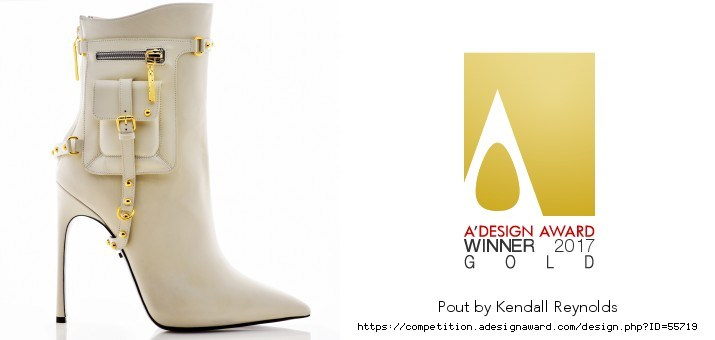 Kendall Reynolds, CEO and design director of Kendall Miles Designs, has been awarded the highly coveted Golden A' Design Award in the Footwear, Shoes and Boots Design category for her Pout Boot.