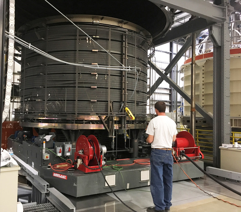 A General Atomics technician prepares to remove the first ITER Central Solenoid module from the furnace following heat treatment. The process required five weeks of careful temperature control in order to create the superconducting material in the module windings. Courtesy: General Atomics