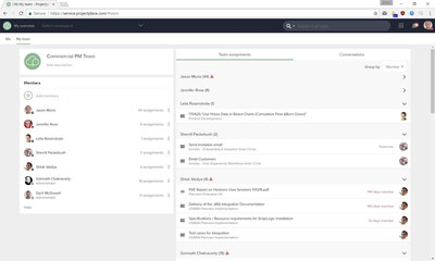 In the new team workspace in Projectplace, teams can easily prioritize, delegate, and update the status of work within the collective team.