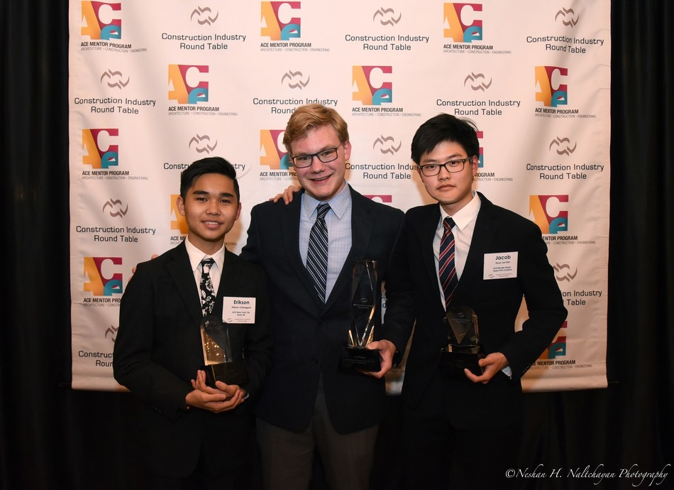 The three presenters representing their ACE Teams for the 11th Annual CIRT National Design & Construction Competition are from L to R: Erickson Calungsod, ACE NYC Team 30 – 2nd place; Jonathan Kaye, ACE Chicago Team 6 – 1st place National Champion; and Jacob Kim, ACE Rhode Island – Team PVD Creative – 3rd place. The competition was held at the Dupont Circle Hotel in Washington, DC.