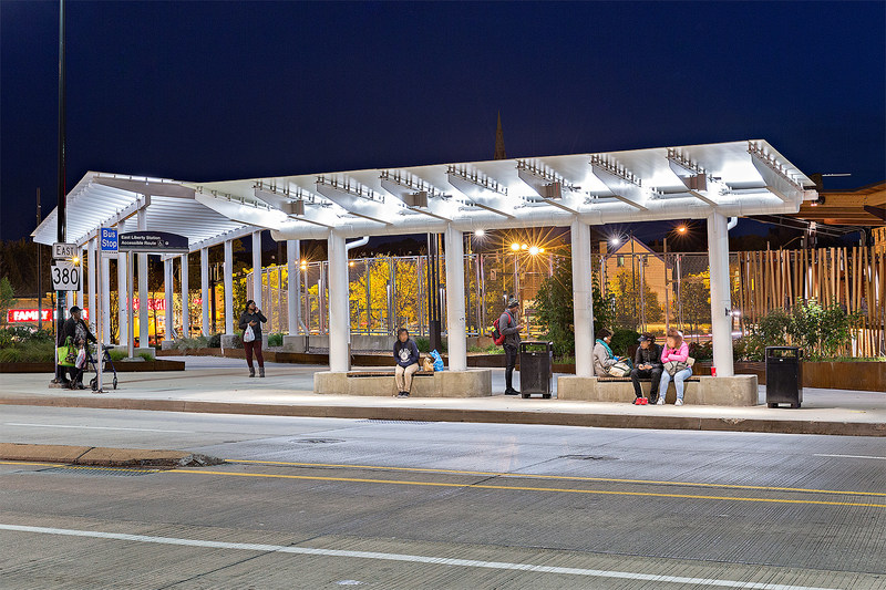 The SKYSHADE 3300™ canopy system from EXTECH installed at the East Liberty bus station in Pittsburgh features Makrolon® UV polycarbonate sheet in white from Covestro LLC. (Photograph courtesy of EXTECH.)