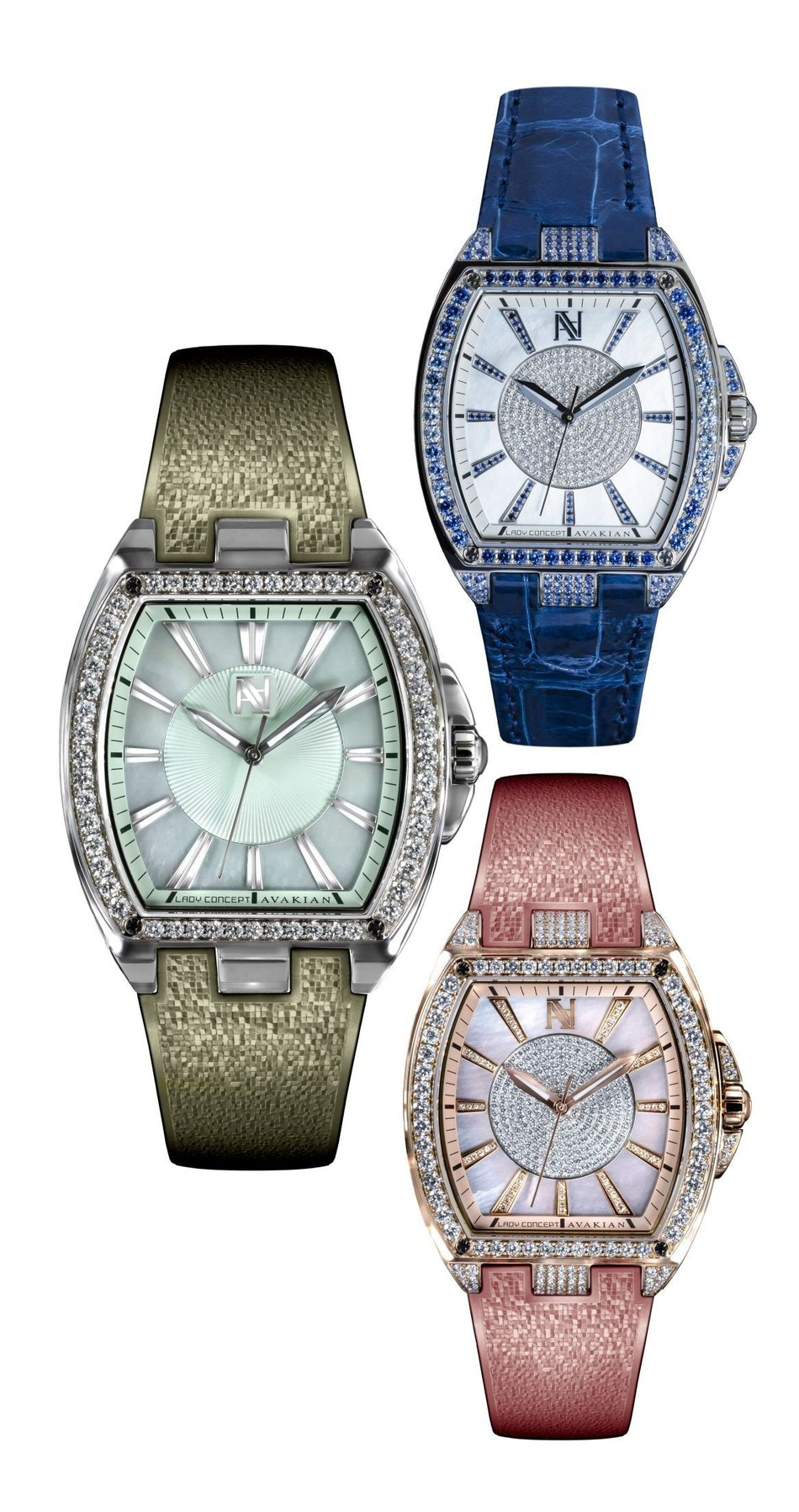 Avakian's new Lady Concept is a bejewelled interpretation of the Tonneau silhouette. Created in tribute to the free-spirited dynamic woman, the daring new timepiece features elegant alligator leather or pearly mosaic rubber strap (available in eight colourways). (PRNewsfoto/Avakian)