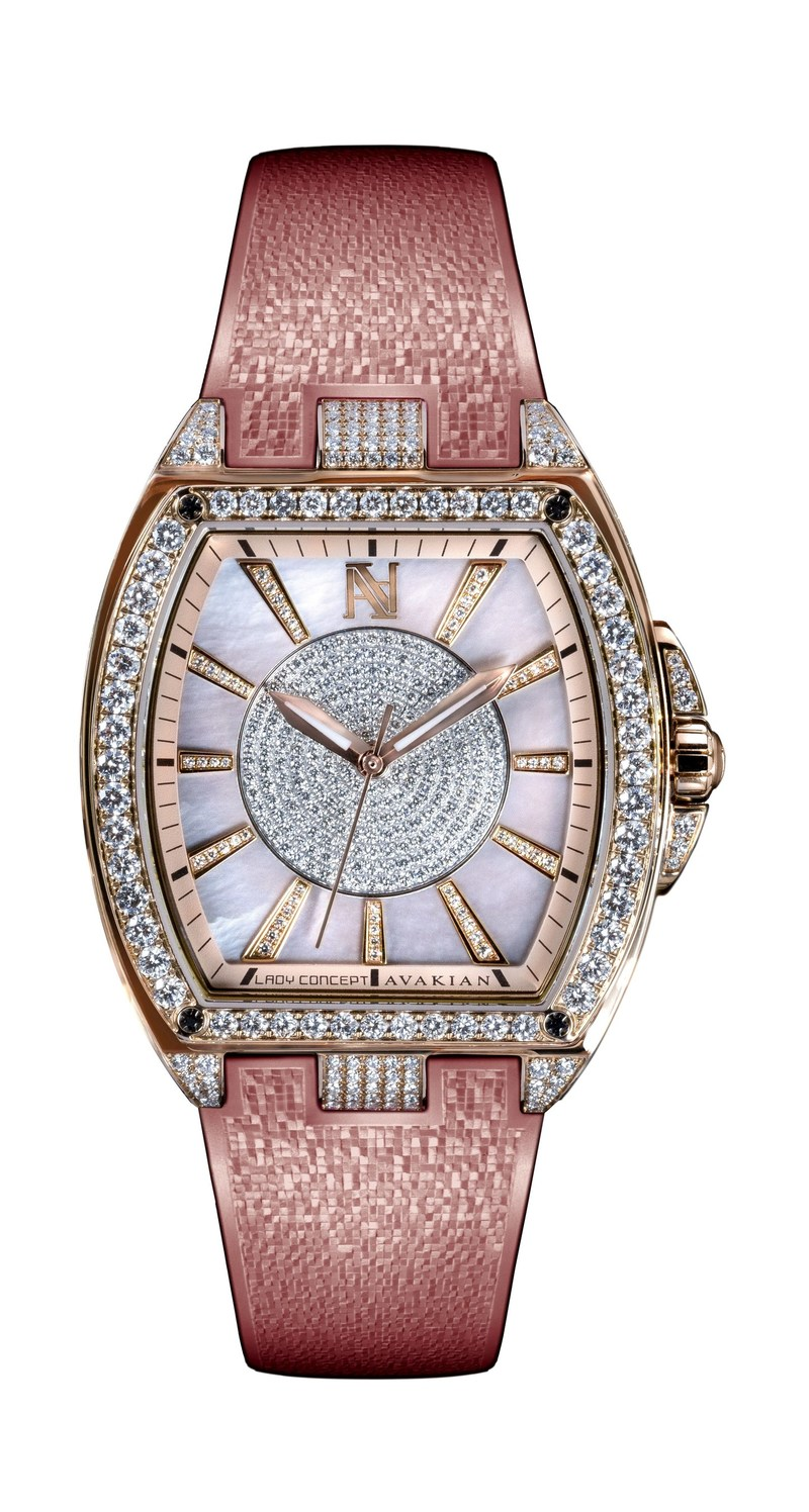 The Avakian Lady Concept jewelled timepiece features pink gold and diamond bezel, case and hour markers set with 564 diamonds. Uniting in beauty are the pink opaline, white diamond centre and pink mother-of-pearl dial. The watch has a pink gold deployant buckle clasp with a pearly-mosaic pink rubber strap. It is also available in alligator strap variation. (PRNewsfoto/Avakian)