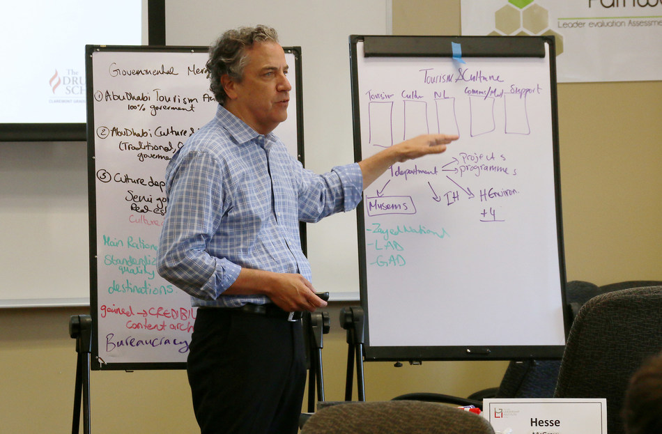 """The Getty Leadership Institute (GLI) at Claremont Graduate University provides executive education opportunities for museum leaders worldwide. In this photo, GLI faculty member Bernie Jaworski, the Peter F. Drucker Chair in Management and the Liberal Arts at the Drucker School of Management, teaches a module on """"Innovation Beyond the Object"""" during a 2015 Getty Leadership Institute executive education program."""