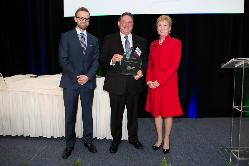 Accepting the Company of the Year award for W.L.Gore is Jack Kramer, Vice President and Global Technology Leader (center).  President of the Delaware BioScience Association, Helen Stimson is pictured right, with Kyle Kershner, LabWare on the left.