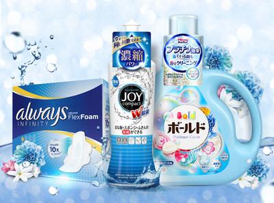 Always Infinity Flex Foam Pads, JOY Compact Dishwashing Liquid and BOLD Platinum Clean Laundry Liquid.