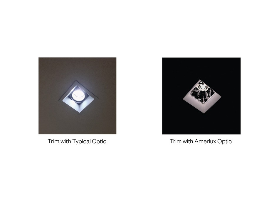 Amerlux adds patent pending upper reflector with Solite lens as a standard offering to remove shadowed corners and non-uniformity on the trim of square downlights