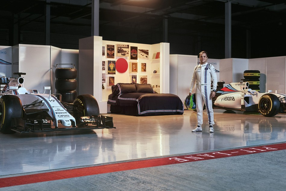 Felipe Massa makes himself at home in the MARTINI & Airbnb bedroom. The partnership gives fans a chance to spend the 'Night at' the Williams Martini Racing garage at Silverstone Circuit, the night before the 2017 Formula One Rolex British Grand Prix (PRNewsfoto/MARTINI)