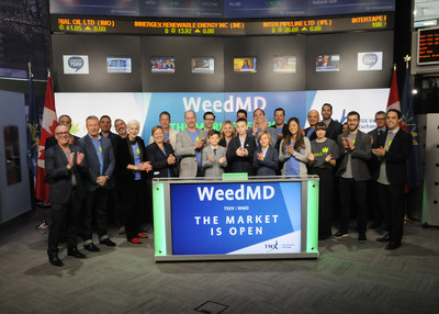 Bruce Scully, Chief Executive Officer, WeedMD Inc. (WMD), joined Steven Mills, Regional Head, TSX Company Services, Toronto Stock Exchange & TSX Venture Exchange to open the market. WeedMD Inc. is a Canadian company licensed by Health Canada under the Access to Cannabis for Medical Purposes Regulations (ACMPR). WeedMD operates a 26,000 square foot, scalable production facility in Aylmer, Ontario with four acres of property. WeedMD Inc. commenced trading on TSX Venture Exchange on April 27, 2017. (CNW Group/TMX Group Limited)