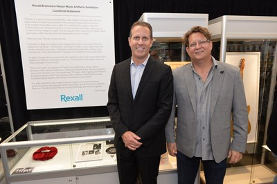 Rexall officially marks the opening of the Rexall Brunswick store in Toronto with the unveiling of the Rexall Brunswick House Music Artifacts Exhibition. Items on display pay tribute to the building's rich history as a live music venue. Paul Dale, Executive Vice President, Store Operations, Rexall (left) and Alan Cross, Exhibit Curator, were on hand to launch the tribute. Photo credit: Evan Bergstra  (CNW Group/Rexall)
