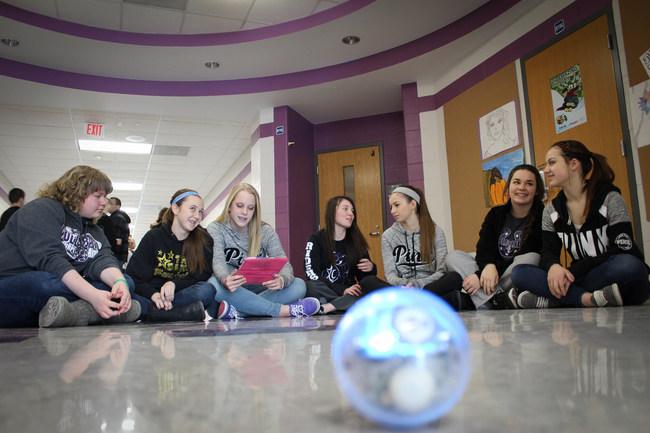 Martins Ferry Students navigating a STEM robot