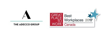 The Adecco Group/GPTW logos (CNW Group/Adecco Group Canada)
