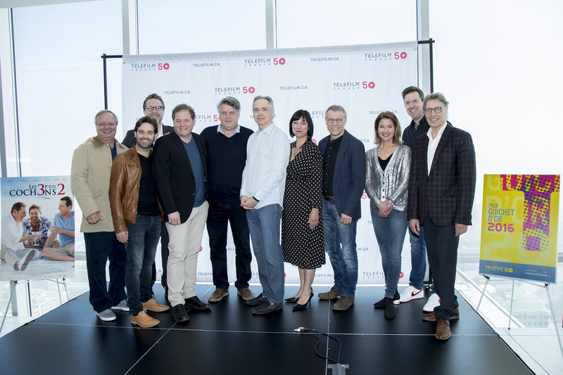 From left to right: Christian Larouche, Guillaume Lemay-Thivierge, Patrick Roy, Paul Doucet, Claude Lalonde, Pierre Lamothe, Marie-France Godbout, Jean-François Pouliot, Isabel Richer, Patrice Robitaille, and Michel Pradier. (CNW Group/Telefilm Canada)