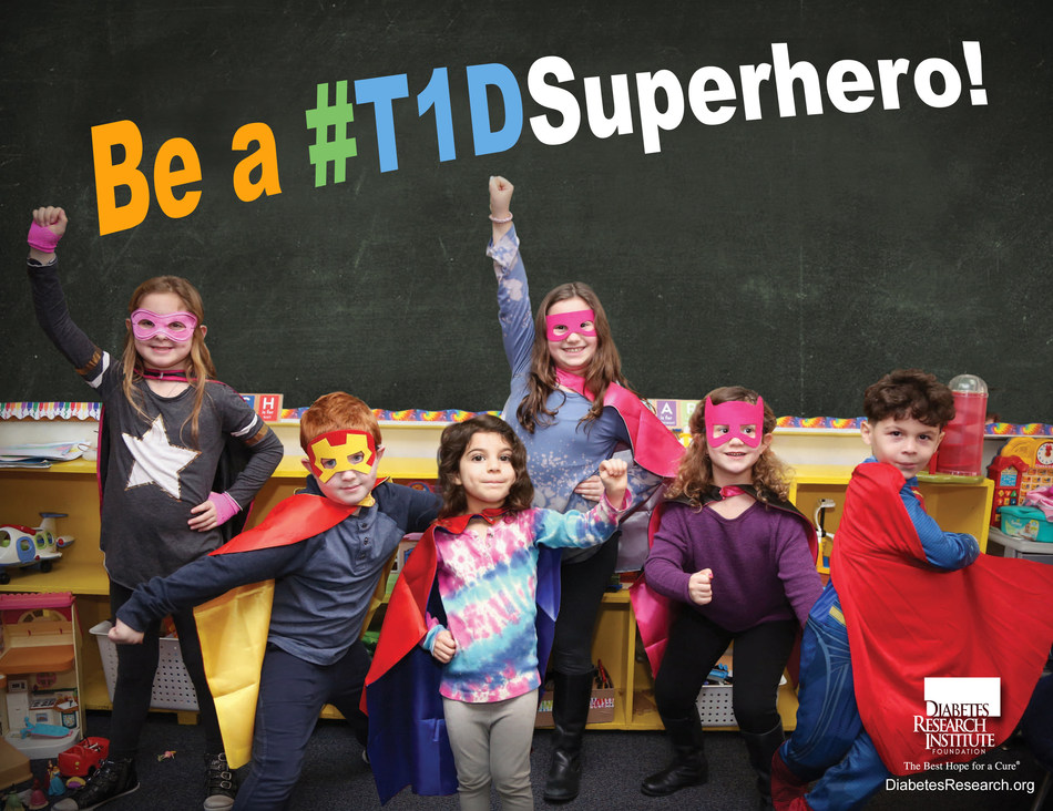 On Friday, April 28, the Diabetes Research Institute Foundation pays tribute to the #T1DSuperhero—those who live with type 1 diabetes (T1D) and the families, friends, and caregivers who support them. Those who want to help raise awareness about the disease and the need to find a cure can join in by changing and sharing your profile picture on social media as we celebrate every brave and strong #T1DSuperhero. Download image here: https://www.diabetesresearch.org/image/T1DSuperhero.jpg