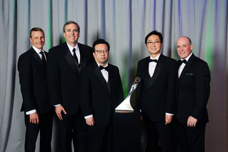 Hankook Tire recently received recognition from General Motors as a GM Supplier of the Year during the automotive manufacturer's 25th annual Supplier of the Year awards ceremony. Pictured from left to right, Wade Sheffer, Executive Director, GM Global Chassis Purchasing; Eric Shirley, Sales Director Hankook Tire NA OE Division; Changwon Park, Hankook Tire VP Global OE Sales; HJ Kim, Vice President America OE Division; James Danahy, Global Functional Leader GM Chassis Engineering