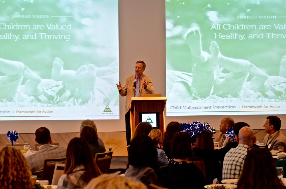 Governor John Hickenlooper speaks at the launch of Colorado's Child Maltreatment Prevention Framework for Action