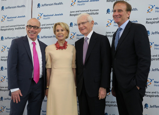 The Jane and Leonard Korman Respiratory Institute in Philadelphia will leverage the combined strengths of National Jewish Health and Jefferson Health to research and treat respiratory and related diseases. (Left to right) Stephen K. Klasko, MD, MBA, President and CEO of Thomas Jefferson University and Jefferson Health; Jane and Leonard Korman; Michael Salem, MD, President and CEO of National Jewish Health.