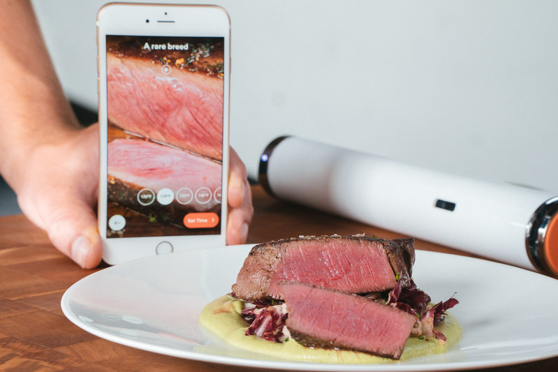 Joule: Sous Vide by ChefSteps with the Joule app and a steak cooked using Joule.