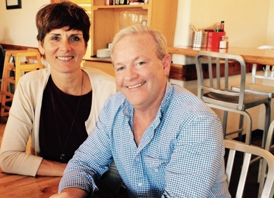 Edible San Diego Publisher Katie Stokes and Lick the Plate host and columnist David Boylan at Fish 101 in Leucadia