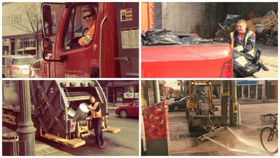 Quelques employés à l'oeuvre ce matin. (Groupe CNW/Ville de Montréal - Arrondissement du Plateau-Mont-Royal)