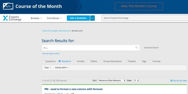 Experts Exchange homepage