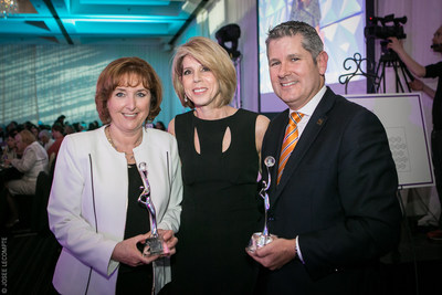 From left to right: Lucie Rousseau, MBA, Executive Coach at Unix coaching and winner of the Inspiration – Andrée Corriveau Award; Dana Ades-Landy, Chief Executive Officer, Heart and Stroke Foundation, Quebec, and President of the Association of Québec Women in Finance; Martin Thibodeau, MBA, President at RBC Royal Bank, Quebec, and winner of the Alter Ego Award. (CNW Group/Association des femmes en finance du Québec)