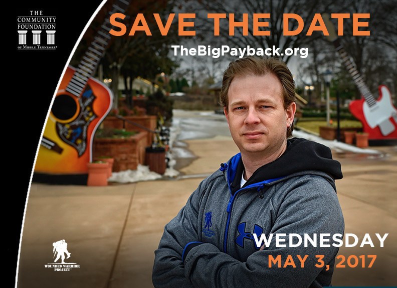 """Residents of Nashville and from all over the state of Tennessee will have a chance to rally behind local community foundations on May 3 as part of """"Big Payback,"""" a community-wide, 24-hour online giving challenge. Wounded Warrior Project® will be among the hundreds of local nonprofits registered to participate."""