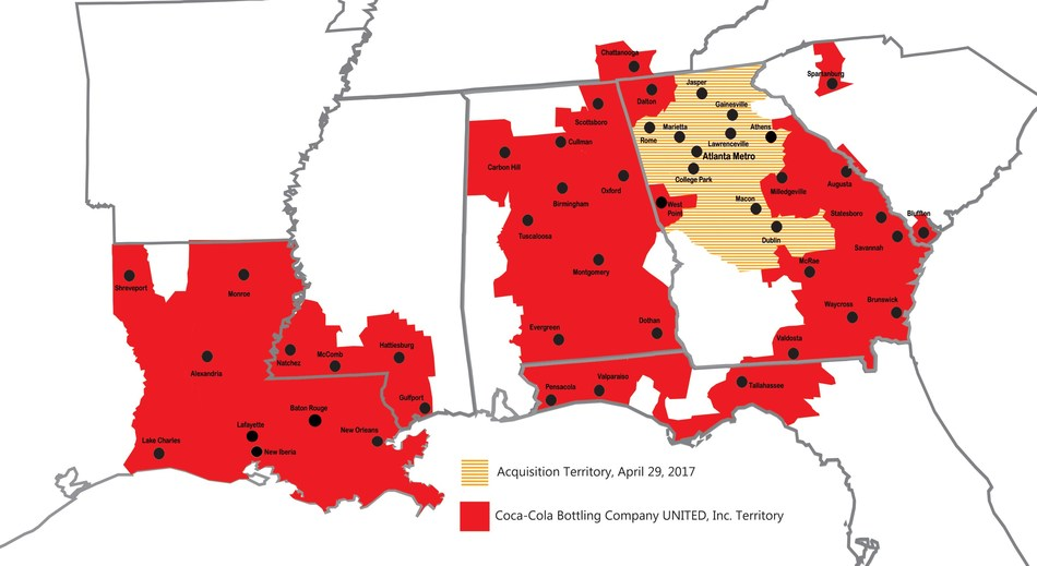 Coca-Cola Bottling Company UNITED, Inc., headquartered in Birmingham, Ala., announced today it closed a transaction with The Coca-Cola Company for distribution and production of Coca-Cola beverages in metro Atlanta.