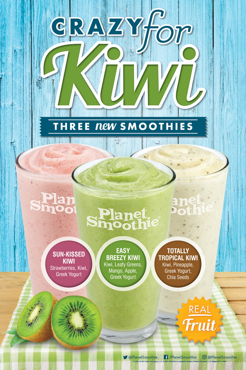 Three new kiwi smoothies are available for a limited time at Planet Smoothie.