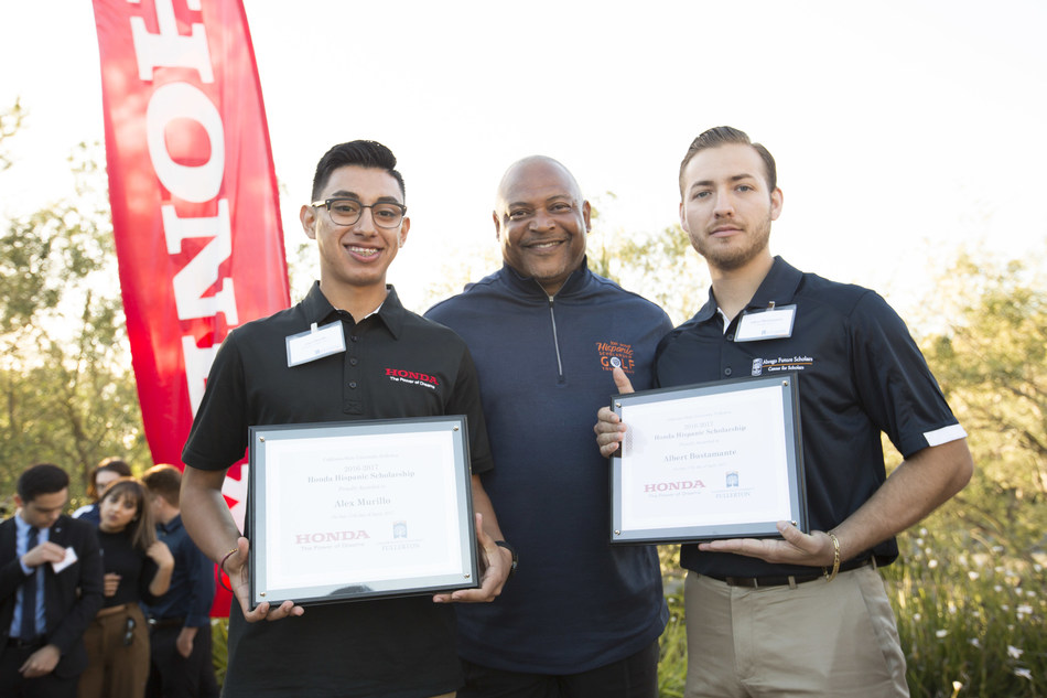 As part of the Abrego Future Scholars Program, Cal State Fullerton students Albert Bustamante and Alejandro Murillo were recognized as this year's Honda Scholars.
