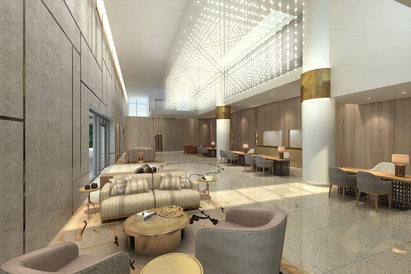 The refreshed reception space with warm and welcoming design features, highlighting a balanced and natural environment.