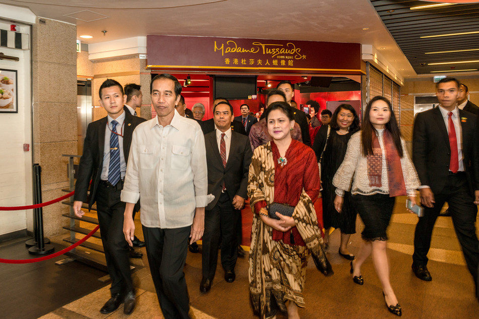 President Joko Widodo makes private visit to Madame Tussauds Hong Kong.