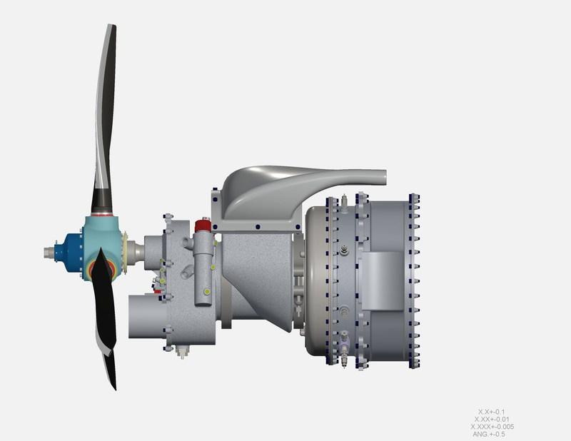 """CAD representation of UAVT 40hp-class turboprop propulsion unit, 24"""", ~70lbs. Credit UAV Turbines, Inc."""