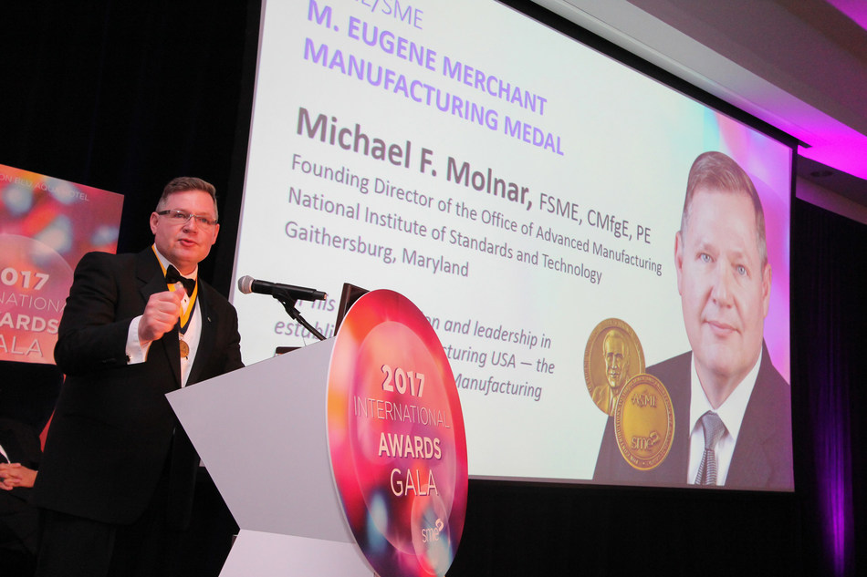 The American Society of Mechanical Engineers and SME recognized Michael F. Molnar, FSME, CMfgE, PE, with the M. Eugene Merchant Manufacturing Medal for his longtime and outstanding contributions to manufacturing research and its implementation in industry. Molnar received the medal at the 2017 SME International Honor Awards Gala in Chicago on April 30.