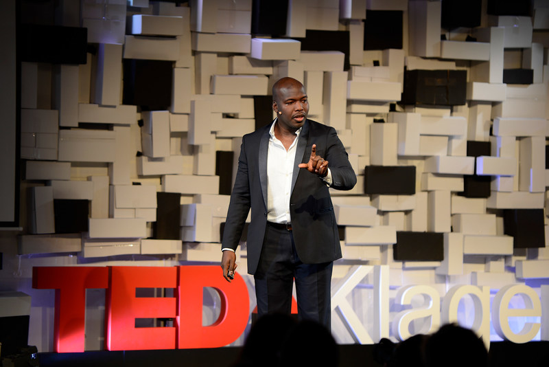 David Anderson delivers his Ted Talk to audience in Austria.