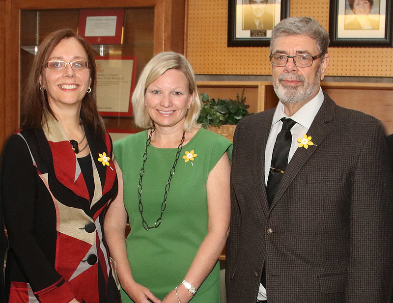 Pictured above Janet Dancey, CCTG Director with Lynne Hudson, CCS President, and CEO, and Richard Reznick, Dean of the Faculty of Health Sciences at Queen's University (CNW Group/Canadian Cancer Trials Group)