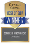 K2 Intelligence Named Top Corporate Investigations Provider in Corporate Counsel Reader Ranking Survey