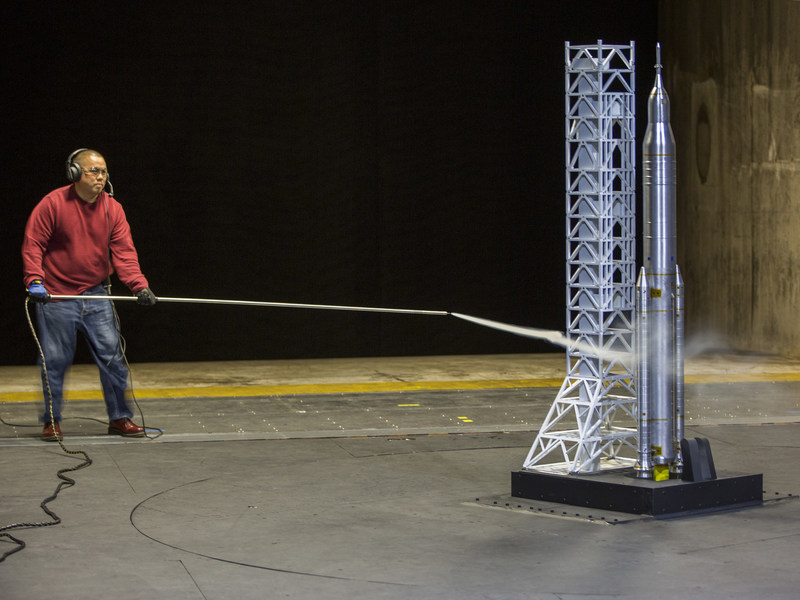 NASA Langley Research Center engineers in Hampton, Virginia, simulate the Space Launch System rocket during liftoff as it clears the launch tower during future missions.