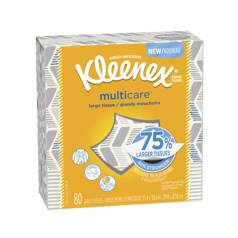 Kleenex® Multicare* tissue is 75 percent larger and 50 percent stronger than Kleenex® Trusted Care* tissue to help each deliver more. Available in four package designs, Kleenex® Multicare* stands up to multiple occasions from sneezes to snacking to small spills, to confidently face whatever life brings.