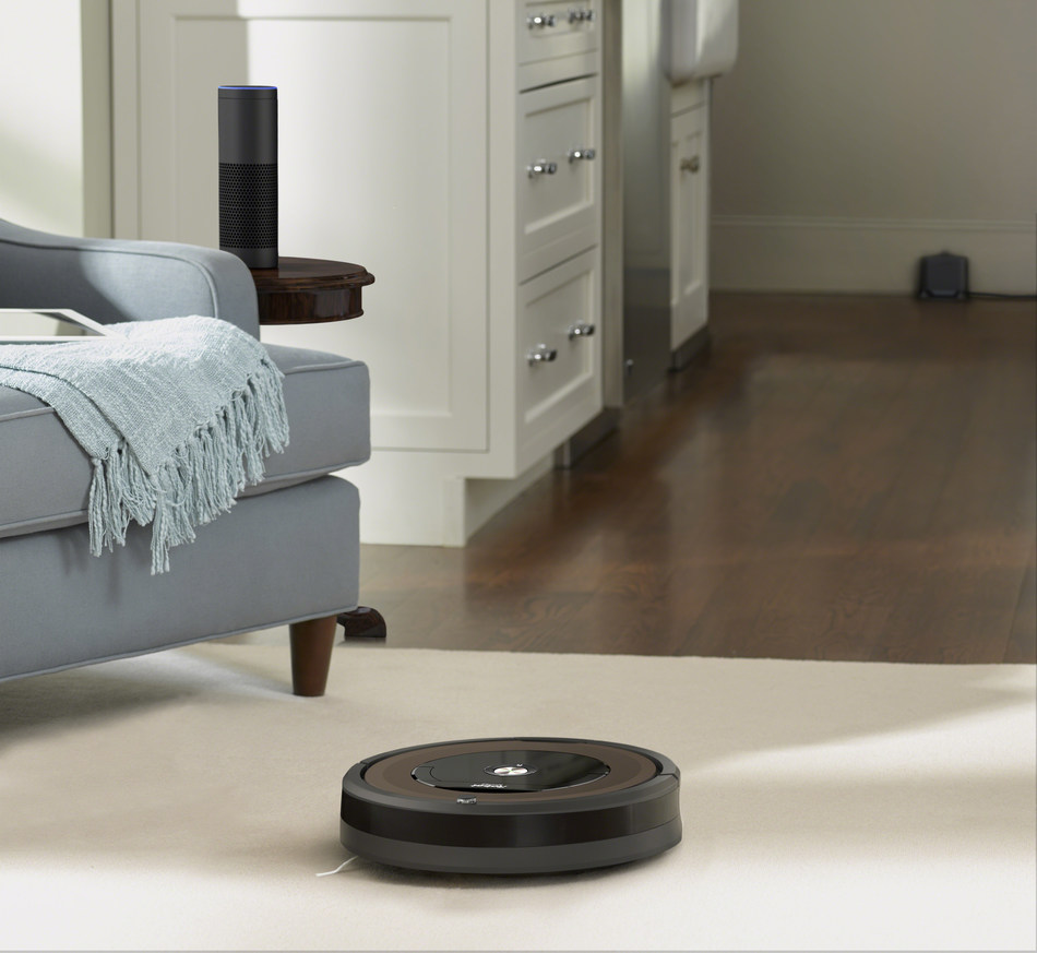 "Want cleaner floors and carpets? Just ask! All Wi‐Fi connected Roomba vacuuming robots, including the new Roomba 890 Wi-Fi connected vacuuming robot (pictured), are now compatible with Amazon Alexa devices (U.S. customers only). Simply ask Alexa to start, stop, or dock the robot. Customers can enable the Roomba skill by saying, ""Alexa, open Roomba."""