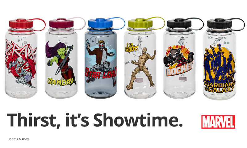 Nalgene's Marvel-inspired Guardians of the Galaxy bottles are now available in the iconic 32-ounce Wide Mouth style in seven different designs