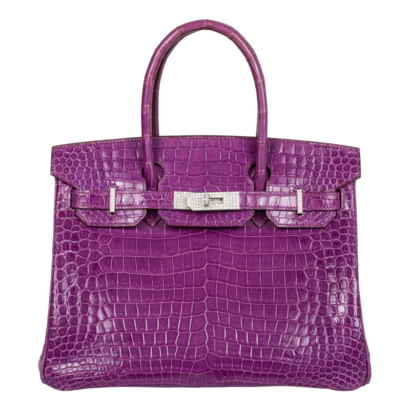 Pictured from Privé Porter's collection of rare Hermes Birkin bags:  a 30 cm Violet Porosus Crocodile with 18K hardware and 10.8 carats diamonds. At Priveporter.com:  $349,950