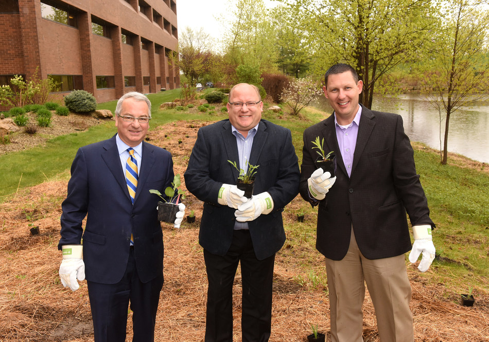 Kicking off its commitment to the Living Acres Monarch Challenge, CHS hosted partner BASF for a ceremonial planting. From left to right: CHS President and Chief Executive Officer Carl Casale; Scott Kay, BASF, vice president, US Crop; and Gary Halvorson, vice president, farm supply, CHS Country Operations.