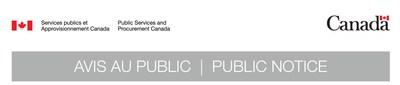 Logo : SPAC Avis au public (Groupe CNW/Services publics et Approvisionnement Canada)