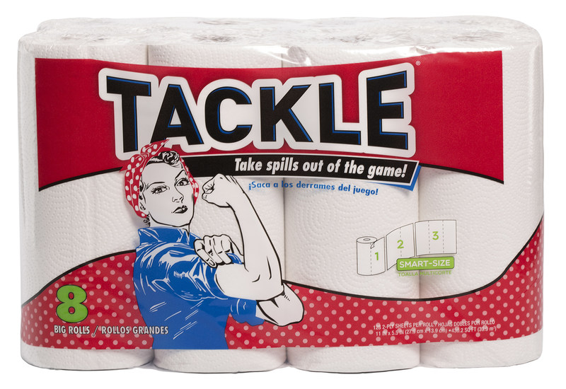 """NEW TACKLE® Paper Towels with Rosie the Riveter, appeals to consumers of all ages. Rosie the Riveter is being described as an """"inspired"""" choice to represent the brand as she appeals to the consumers of today with her """"Can Do"""" attitude!"""
