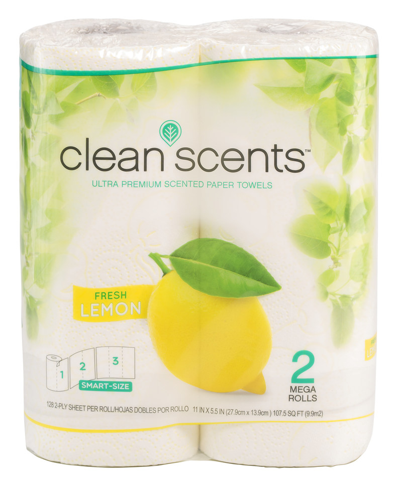 NEW CLEAN SCENTS® Paper Towels are unique and innovative with fruit scents. The Lemon and Grapefruit scented towels provide a fresh scent for the kitchen through their scented cores. The Lemon and Grapefruit theme is also carried out through the unique fruit patterns embossed on each towel. CLEAN SCENTS® Paper Towels tested very strong with consumers.