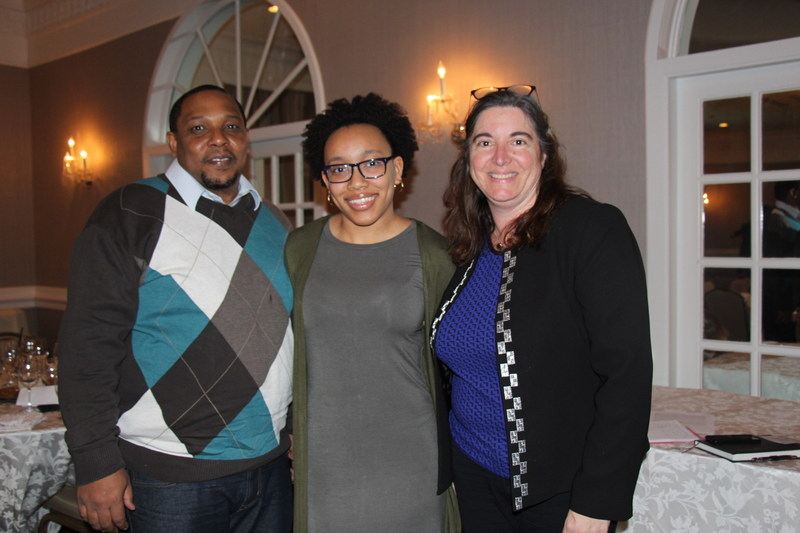 Jasmyn Allen (center) a junior at MOT Charter High School in Middletown, DE, is joined by her father, Matthew (left), and her principal, Elaine Elston (right) at a dinner to launch Siegfried Leadership Program's 2017 events.