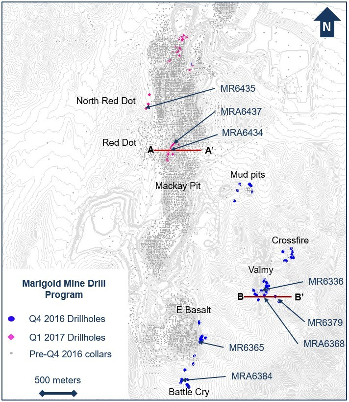 Figure 1. Drillhole location plan map for the fourth quarter 2016 and first quarter 2017 exploration drill programs at the Marigold mine, Nevada, U.S. (CNW Group/Silver Standard Resources Inc.)