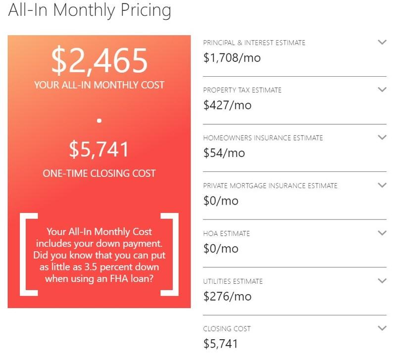 RealEstate.com All In Cost Calculator